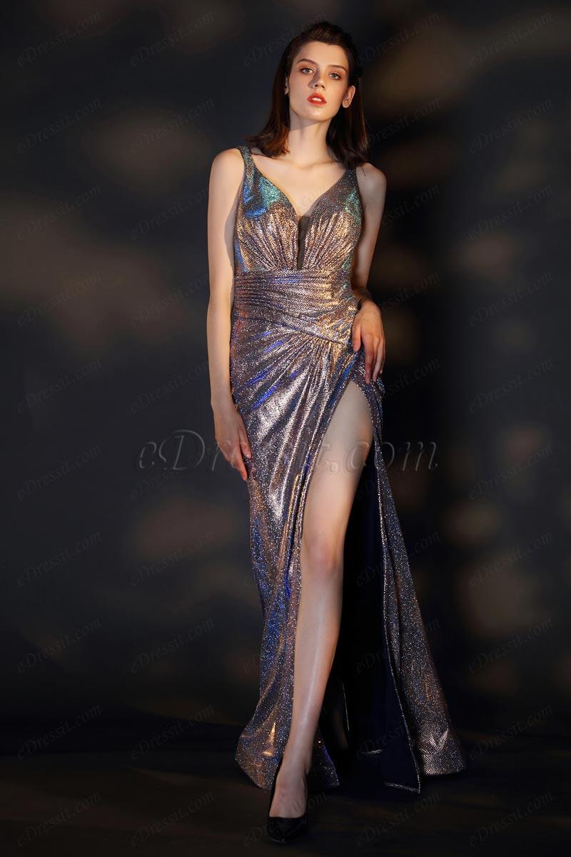 eDressit Shiny V-Cut Open Back High Slit Evening Party Dress (07200908)