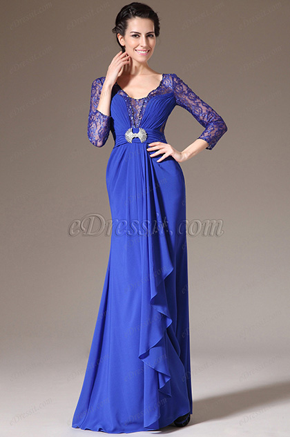 eDressit Blue Lace-Sleeves Formal Dress/Mother of the Bride Dress (26140105)