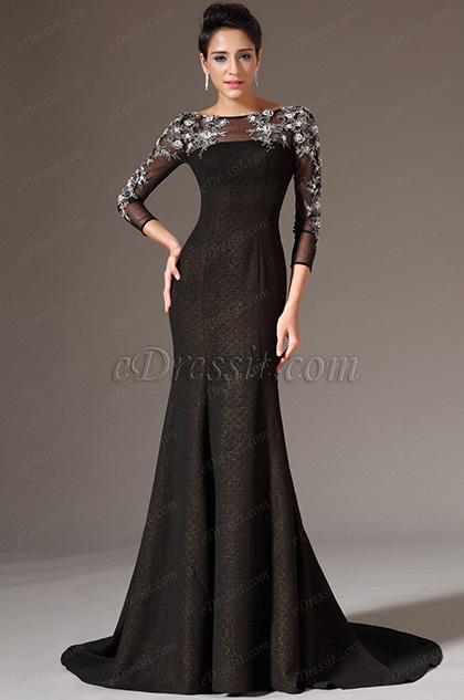 eDressit Black Sheer Top Tulle Sleeves Prom Gown (02143900)