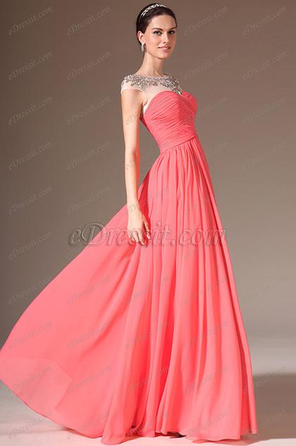 eDressit 2014 Neu Durchsichtig Oben Rund Ausschnitt  Voll-Länge Prom Kleidung (02143757)