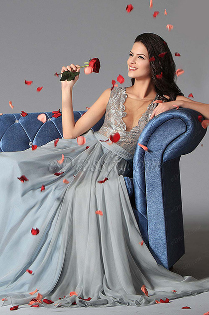 eDressit 2014 Neu Bläulich Grau Sexy V-Ausschnitt Bestickte  Spitze Abendkleid (02146732)