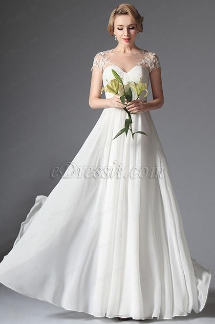eDressit 2014 Neu Kurze Ärmel Lang Hochzeit Kleid Ballkleid (01141807)