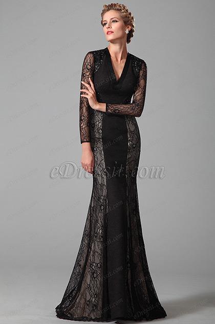 Robe mère de mariée longue noire manches dentelle (26151000)