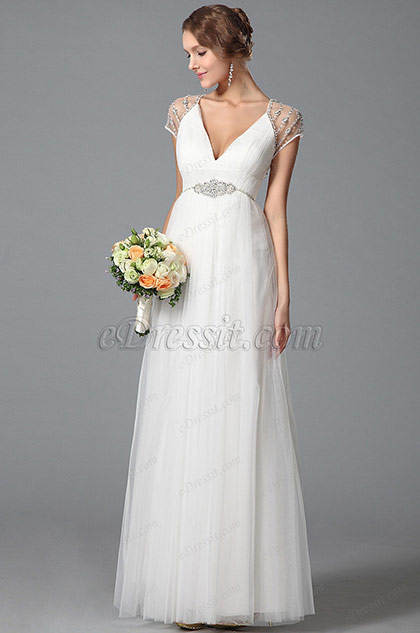 Gorgeous Short Sleeves Wedding Dress With Sparkling Beading (01150807)