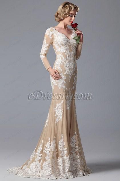 eDressit V Cut Lace Applique Evening Gown Formal Dress (02150614)