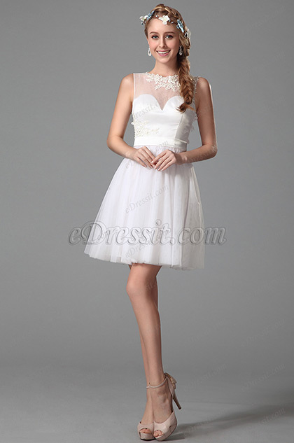 Flattering Sleeveless Party Dress With Illusion Sweetheart Neck (04150407)