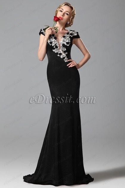 eDressit Cap Sleeves Black Evening Gown Formal Dress (02151100)