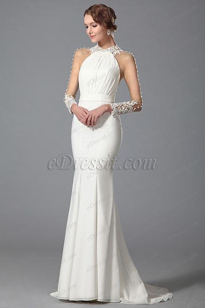 eDressit White Trumpet Long Sleeve Evening Dress Wedding Gown