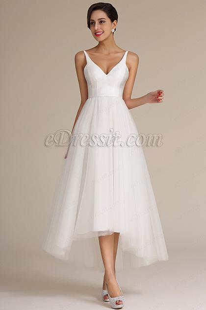 eDressit Straped V Cut Top Asymmetric Wedding Dress (01160807)