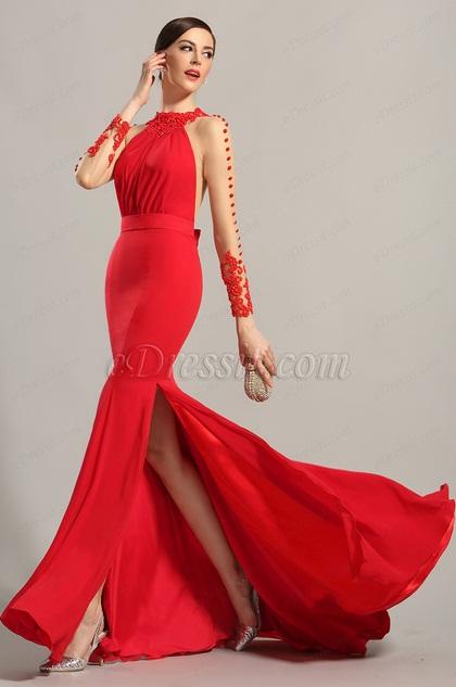 eDressit Herrlicher lange Ärmel Rot Abendkleid Ballkleid (02150102)