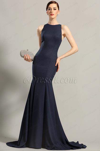 Navy Blue Sleeveless Evening Dress Formal Gown (00155205)
