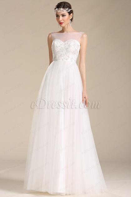 Sleeveless Illusion Sweetheart Neck Wedding Dress (01151207)
