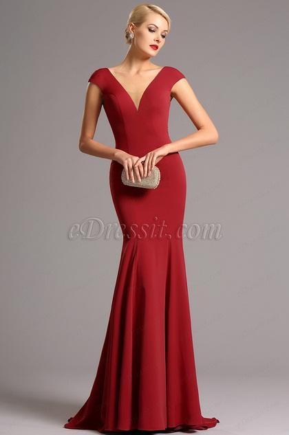 Flügelärmel tiefe Ausschnitt Rot Formel Kleid (00161202)