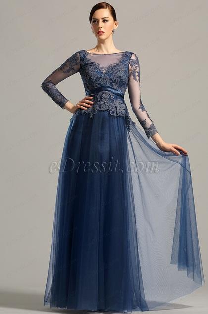 Long Sleeves Open Back Navy Blue Evening Dress Prom Dress (26153005)
