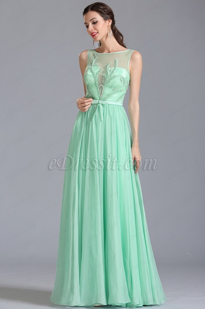 Sleeveless Embroidered Mint Evening Dress Formal Gown (00154604)