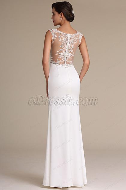 Sexy High Slit Plunging Neck Wedding Reception Dress (01160907)