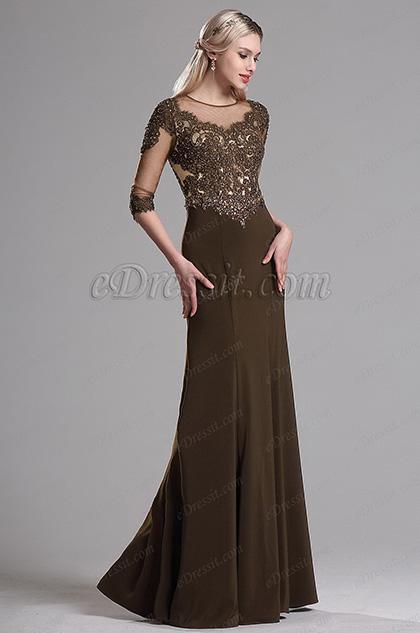 eDressit Brown Illusion Neckline Beaded Mother of the Bride Dress (36163720)
