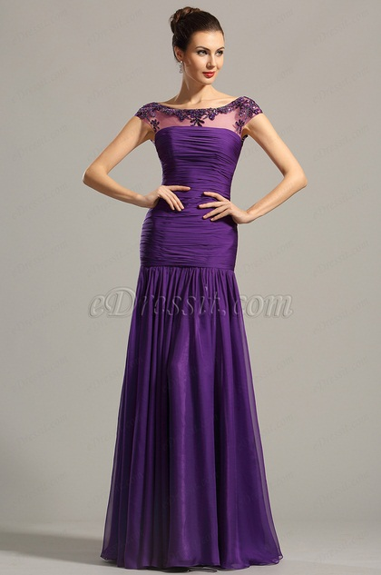 eDressit Beaded Capped Sleeves Purple Formal Gown Evening Dress (02154606)
