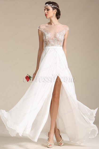 Sexy Cap Sleeves Embroidery Wedding Dress Prom Dress (01151607)