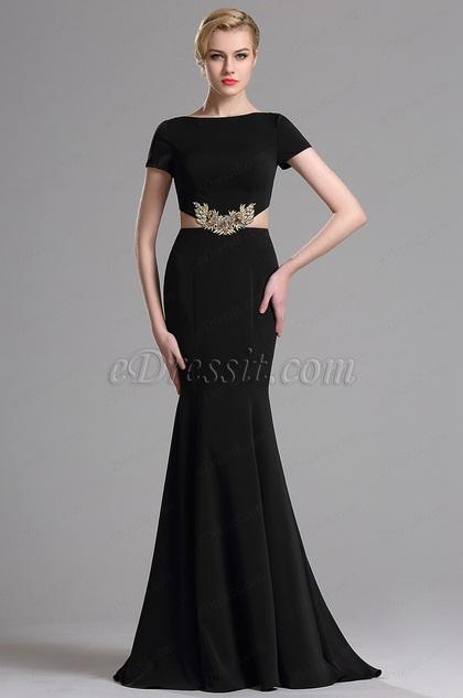 eDressit Black Short Sleeves Mermaid Prom Evening Dress (00163300)