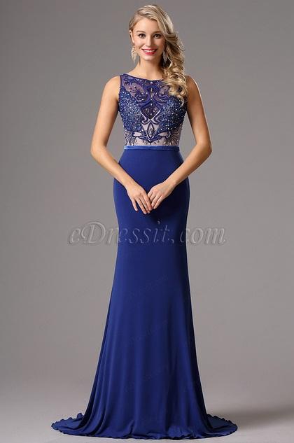 eDressit Sleeveless Beaded  Blue Prom Gown Formal Dress (02160505)