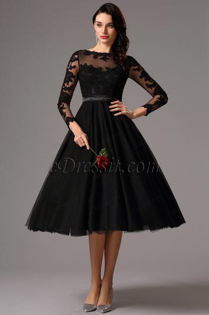 Long Lace Sleeves Tea Length Black Cocktail Dress (04161300)