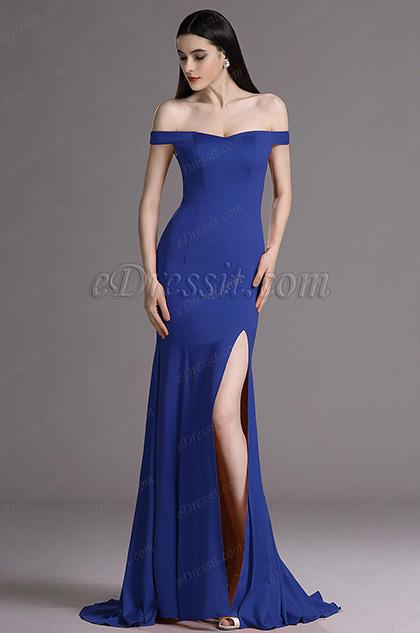 eDressit Royal Blue Off Shoulder High Slit Formal Dress Evening Gown (00163544)