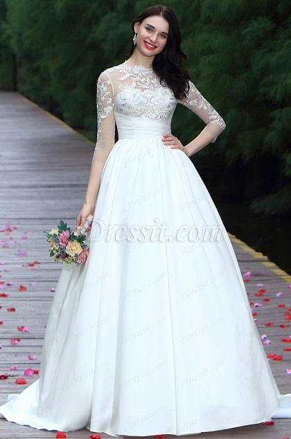 eDressit White Long Sleeves Embroidery Bridal Dress (01170907)