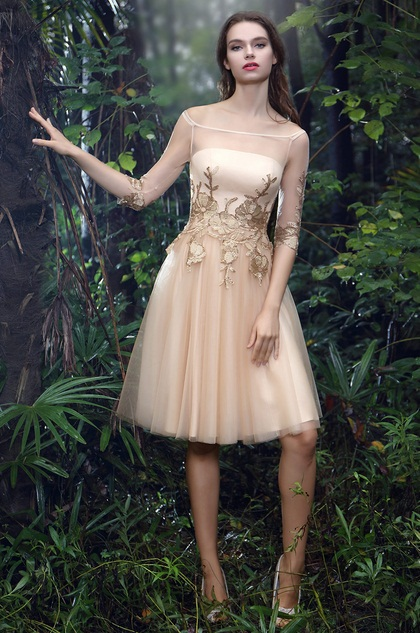 eDressit Champagne Half Sleeves Cocktail Dress with Lace Appliques (04170824)