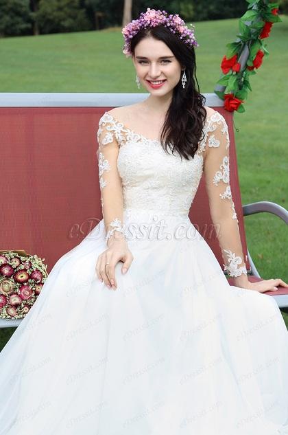 eDressit Lang Ärmel Spitze Perlen Brautkleid(01171507)