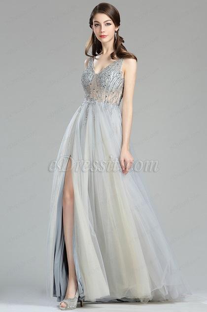eDressit Funkelnd V Ausschnitt Perlen Tüll Kleid  (36180508)