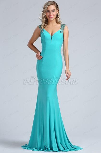 eDressit Light Blue Beaded Mermaid Evening Gown (36173532)