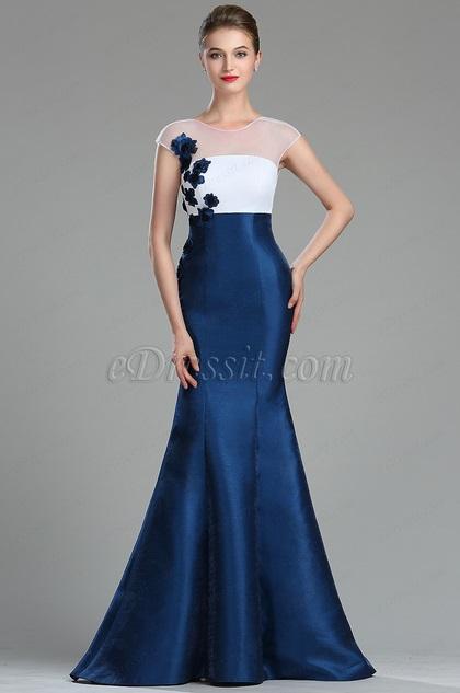 eDressit White & Blue Floral Mermaid Ladies Dress Ball Gown (02180705)