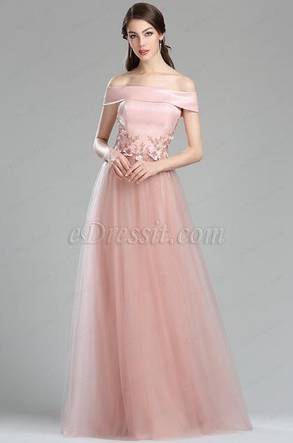 eDressit Pink Off Shoulder Floral Lace Appliques Prom Dress(00180101)