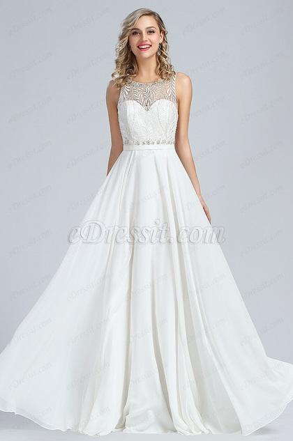 eDressit Sleeveless White Beaded Formal Dress (36173907)