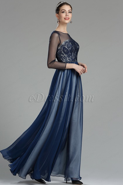 eDressit Navy Blue Lace Evening Dress with Sleeves (02180405)