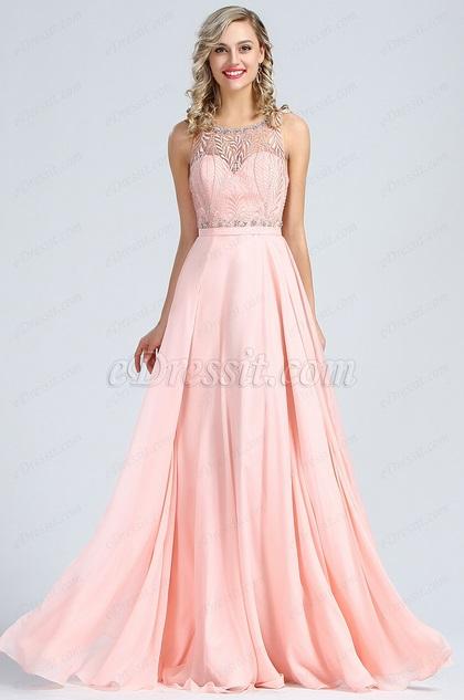 eDressit Sleeveless Pink Beaded Prom Evening Gown (36173901)