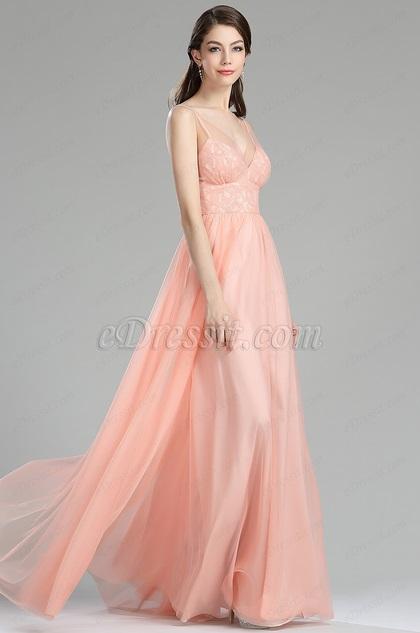 eDressit Blush Lace Bridesmaid Occasion Dress for Women (00180210)