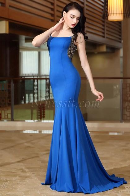 eDressit Blue Straps Long Homecoming Prom Mermaid Dress (02171105)