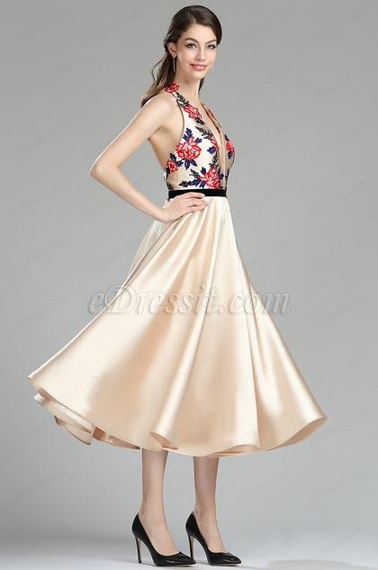 eDressit Halter Neckline Beige Lace Appliques Backless Cocktail Dress (04180114)