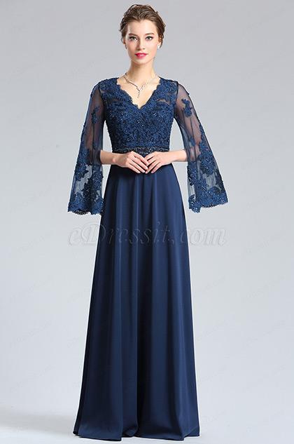 eDressit Half Sleeves Navy Blue Evening Dress Formal Gown (36182205)