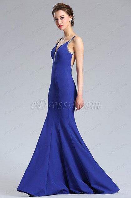 eDressit Persian Blue Sleeveless Long Mermaid Prom Dress (36182605)