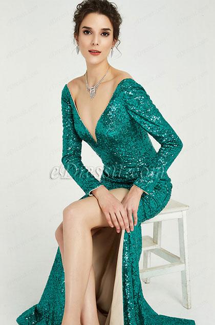 eDressit Green Sequins Long Sleeves Slit Ball Gown Dress (02190204)