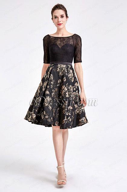 eDressit Half Sleeve Black Floral Cocktail Dress (04190500)