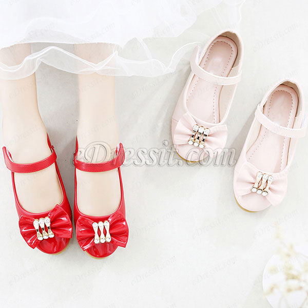 Girl's Bowknot Open Toe Leather Flat Flower Sandals Shoes (250044)