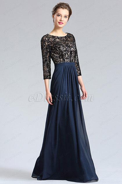 eDressit Black&Blue 3/4 Sleeves Mother of the Bride Dress (36182105)