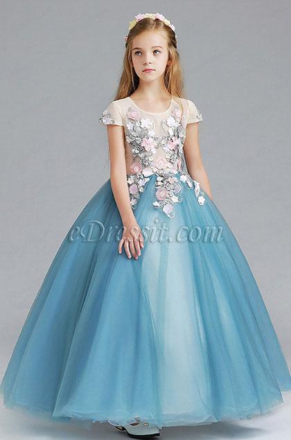 Vestido de niña de las flores de la boda azul princesa niño (27198605)