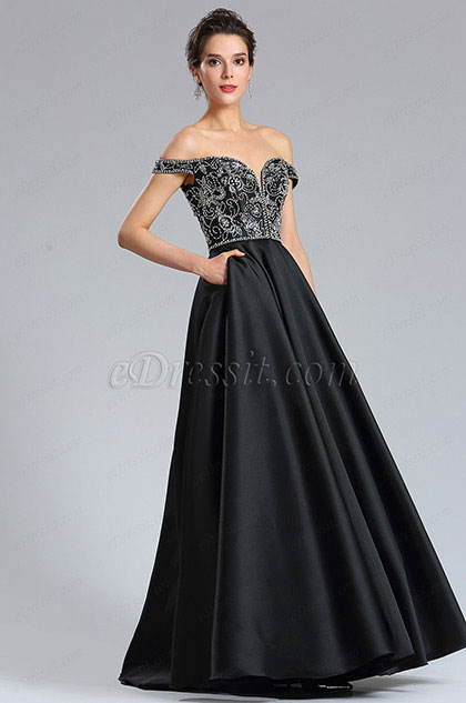 eDressit Black Sexy Off the Shoulder V Cut Puffy Prom Party Dress (36184400)