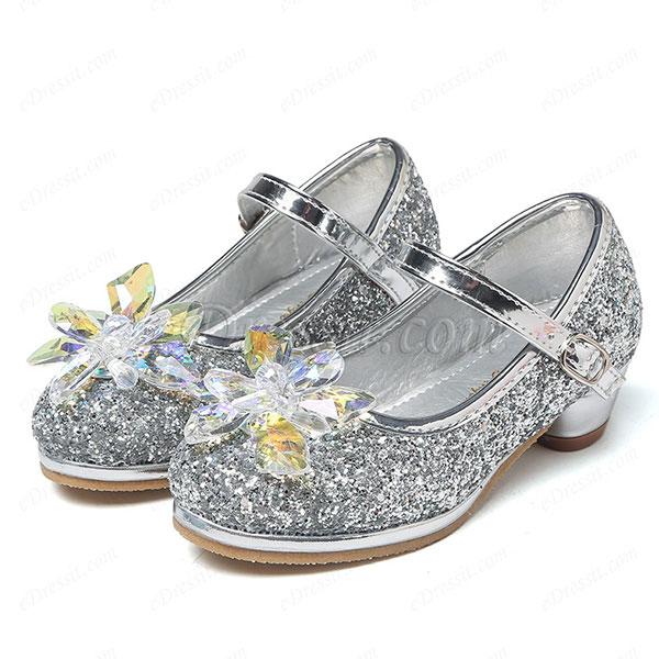 Girl's Lovely Sequin Round Toe Leather Flower Girl Shoes (250036)