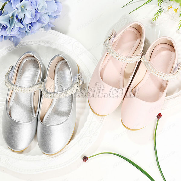 Girl's Simple Round Toe Flat Flower Dance Shoes (250049)